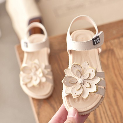 Kids Shoes Girls Female Flats Soft Bottom Floral Rubber Sandals Casual Wear