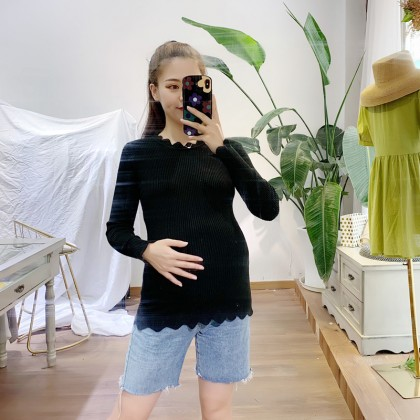Maternity Clothing Long - Sleeved Fashion Tops for Pregnant Women