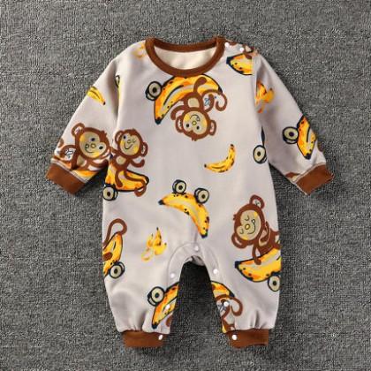 Baby Clothing Sleepwear Cotton Round Neck Romper Onesies Pajamas Wear