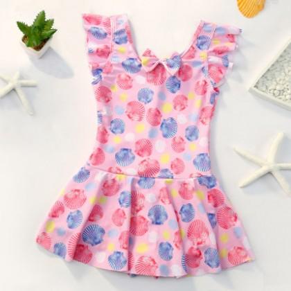 Baby Clothing Swimwear Children's One Piece Dress Beach With Bow Wear