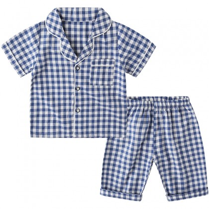 Kids Clothing Boys Sleepwear Plaid Short Sleeved Pajamas Thin Cotton Wear
