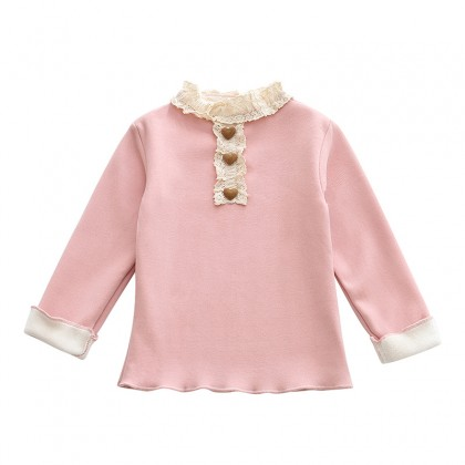 Kids Clothing Tops Lace Pullover Round Neck Children's Girls Spring Outwear