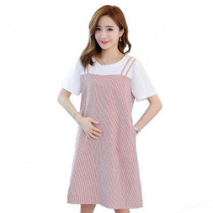 Maternity Clothing Stripe Round Neck Fashion Long Skirt Pregnant Dress