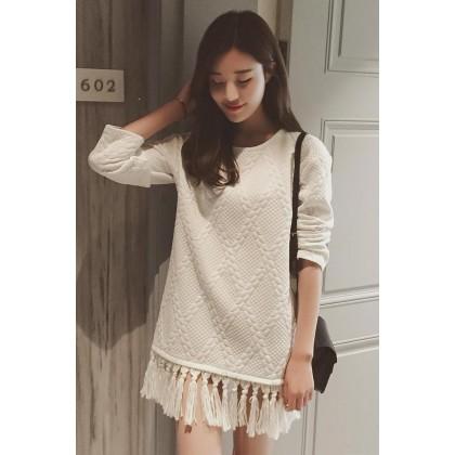 Maternity Clothing White Long -cotton silk dress autumn winter fringed skirt autumn-Pregnant Women