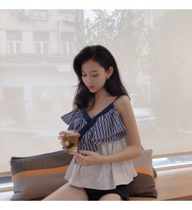 Women Casual Outing Blue and White Stripes Straps Maternity Tops