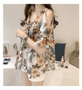 Women Chiffon Flora Flower Short Sleeve Blouse Maternity Tops