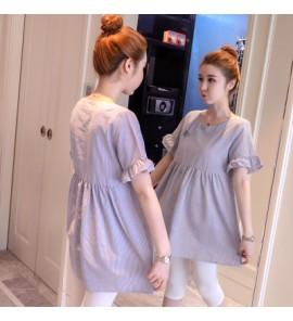 Women Cotton Cute Short Sleeve Blouse Maternity Tops