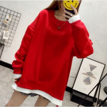 Maternity Clothing Loose Plus Velvet Solid Color Mid-length Sweater