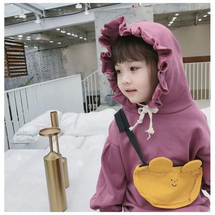 Kids Clothing Plain Color Ruffled Hood Sweater