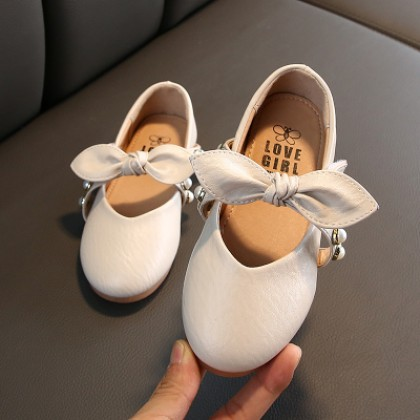 Kids Fashion Leather New Bow Princess Ribbon Shoes
