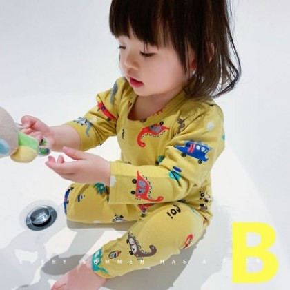 Kids Cotton Cute Print Autumn Clothes and Pants Sleepwear