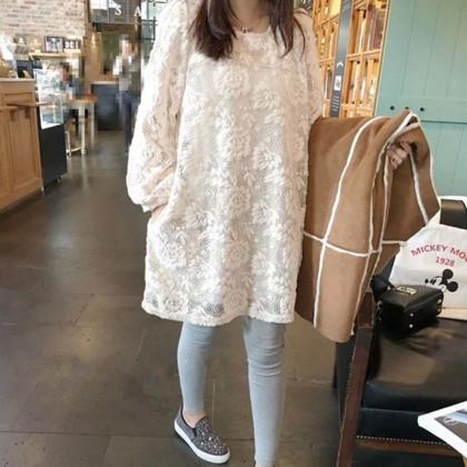 Maternity Clothing Round Neck Mid-length  Lace Dress