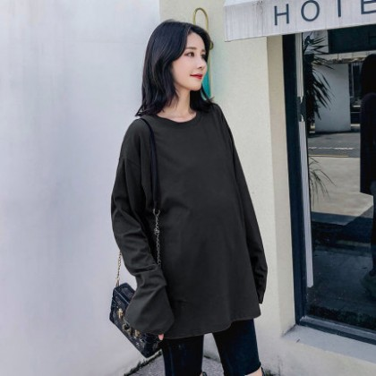 Maternity Clothing Loose Long-sleeved Mid Length Shirt