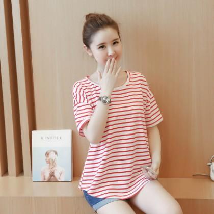 Maternity Clothing Short-sleeved Large Cotton Striped Shirt