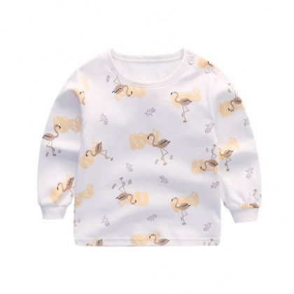 Baby Clothing Cotton One-piece Swan Shirt