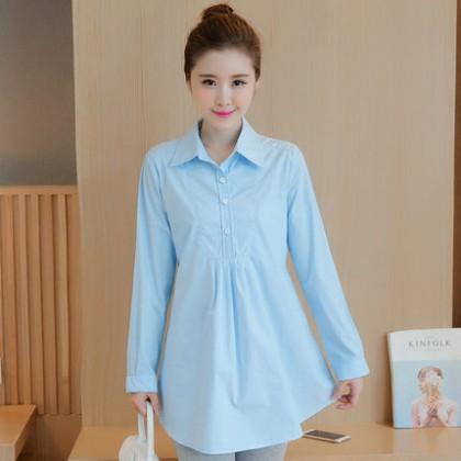 Maternity Clothing Loose Top Cotton Shirt Long Long Sleeve Shirt
