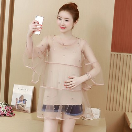 Maternity Clothing Loose Lace Long Sleeve Shirt