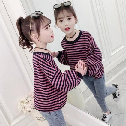 Kids Clothing Girl Princess Long Sleeve Striped Shirt
