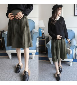 Women Army Green Midi Pleated Maternity Skirt