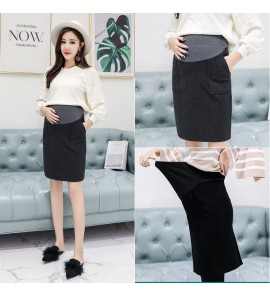 Women Wool Midi Office Working OL with Pockets Maternity Skirt