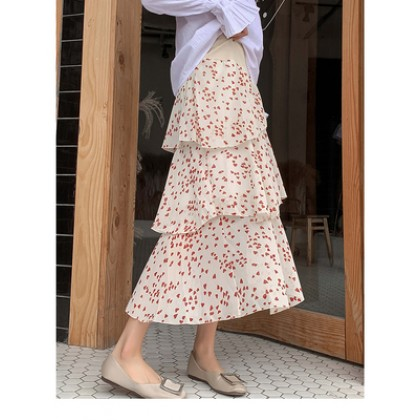 Maternity Clothing Chiffon Cake Long Irregular Dots Pattern Skirt
