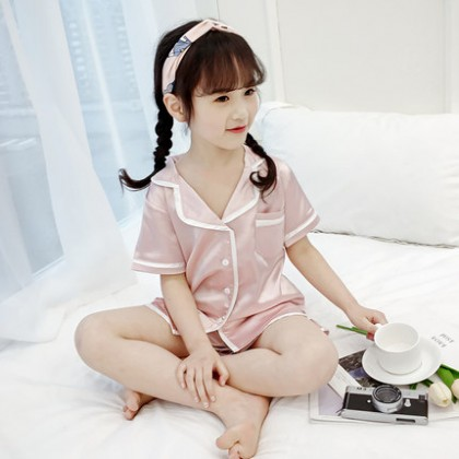 Kids Clothing Short-sleeved Summer Ice Silk Comfortable Sleepwear Set