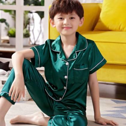 Kids Clothing Boys Ice Silk Short-sleeved Pajama Set