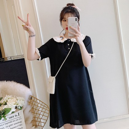 Maternity Clothing Embroidery Design Loose Rainbow Collar Dress