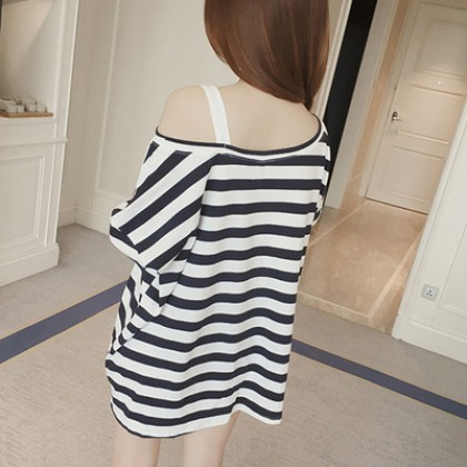 Maternity Clothing Off-shoulder on One Side Mid-length Loose Striped Shirt