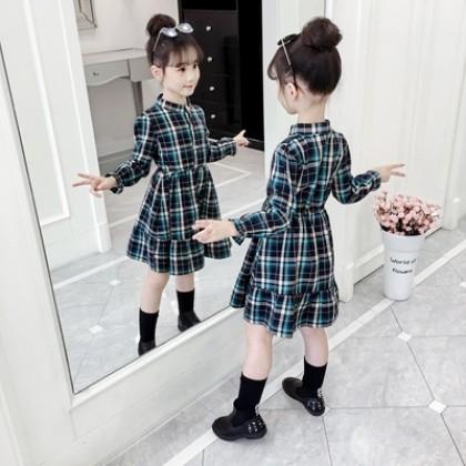 Kids Clothing Girl Casual Long-sleeved Plaid Dress