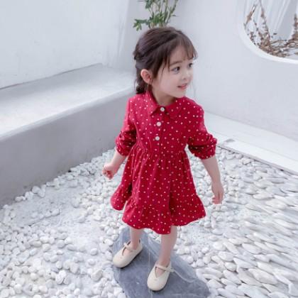 Kids Clothing Girl Casual Long-sleeved Polka Dots Dress