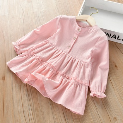 Kids Clothing Girl Casual Mid-length Long-sleeved Shirt