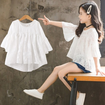Kids Clothing Girl Long Sleeve Loose Lace Shirt