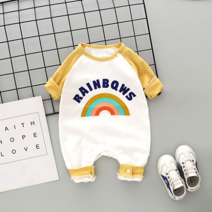 Baby Clothing Long-sleeved Rainbow Print Pure Cotton Pajamas