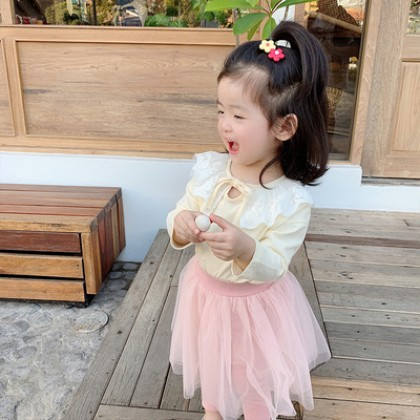 Kids Clothing Girl Lace Collar Long-sleeved Shirt