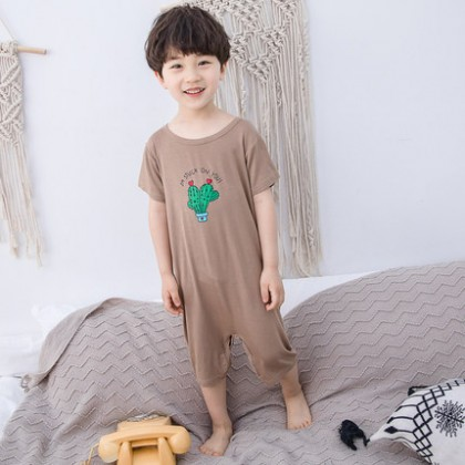 Kids Clothing Boy Cactus Strawberry Pineapple Design One-piece Suit Sleepwear