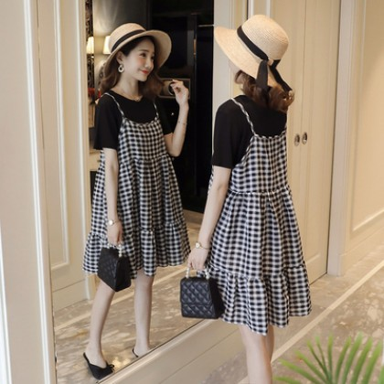 Maternity Clothing Plaid Suspender Skirt Short-sleeved Two-piece Suit
