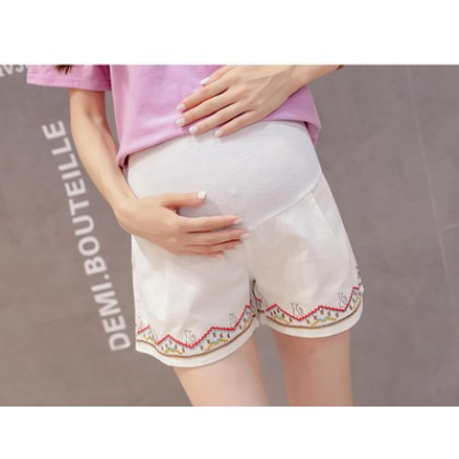 Maternity Clothing Embroidered Three-point Shorts Stomach Lift Pants