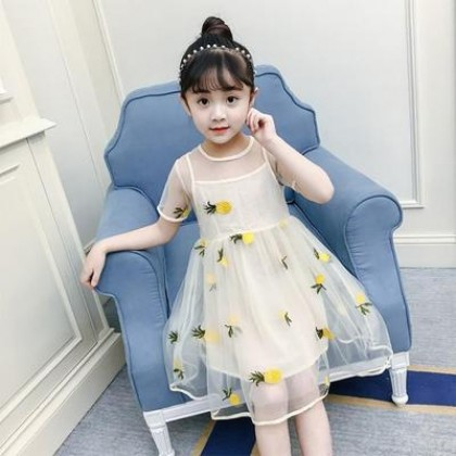 Kids Clothing Girl Pineapple Pattern Casual Mesh Dress