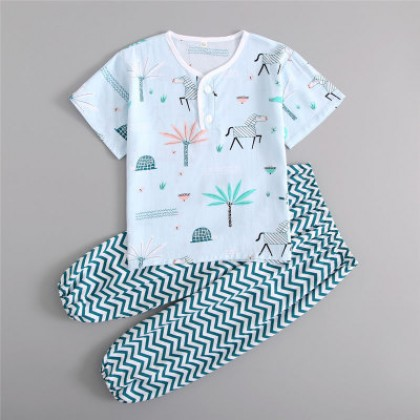 Kids Clothing Boy Short-sleeved Shirt and Trousers Nightwear Set