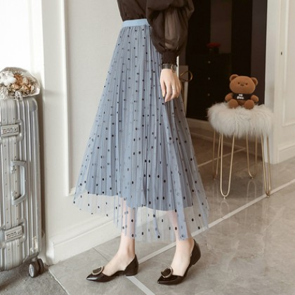Maternity Clothing A-line Polka Dots Mesh Mid-length Skirt