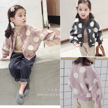 Kids Clothing Girl Woolen Knitted Cardigan Casual Polka Dots Sweater