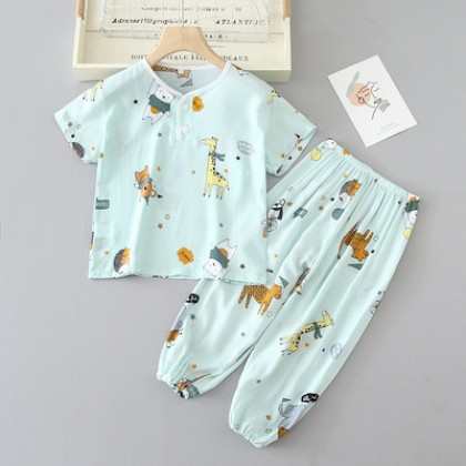 Kids Clothing Boy Short-sleeved Shirt and Trousers Comfortable Sleepwear