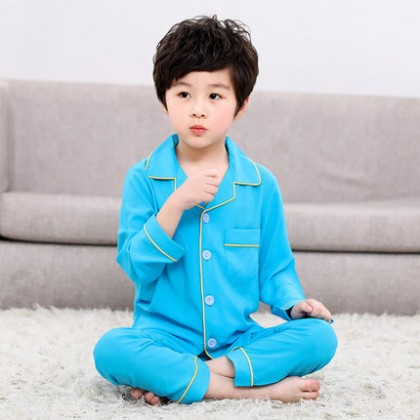 Kids Clothing Boy Long-sleeved Shirt and Pants Pajama Set