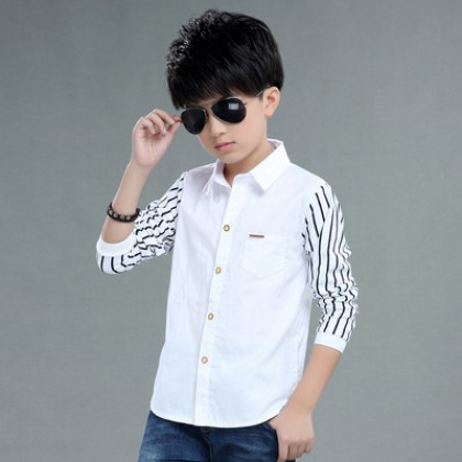 Kids Clothing Boy Fashion Long-sleeved Cotton Shirt