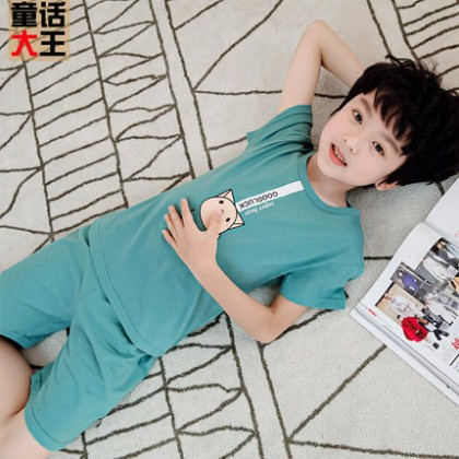 Kids Clothing Boy Fashion Cotton Short-sleeved Night Suit