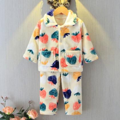 Kids Clothing Boy Coral Warm Moisture Pajamas Set