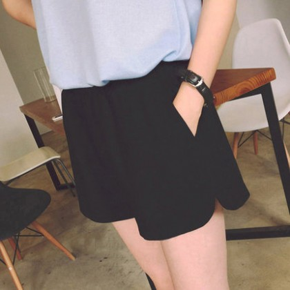 Women Black Casual Outing Pregnancy Short Maternity Pants