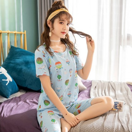 Maternity Clothing Breathable Breastfeeding Short-sleeved Pajamas