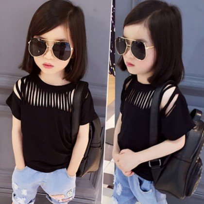 Kids Clothing Black Cut-out Hollow Short-sleeved T-shirt Top